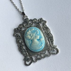 Jewelry - OOAK Aquamarine cameo picture frame pendant